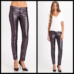 7 For all mankind metallic purple skinny jeans